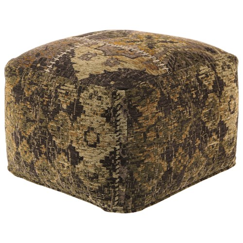 Signature design by ashley poufs stevensville patchwork pouf pilgrim furniture city poufs - Design pouf ...