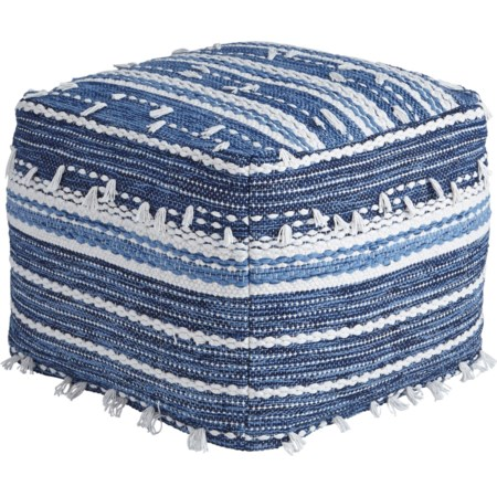 Anthony - Blue/White Pouf