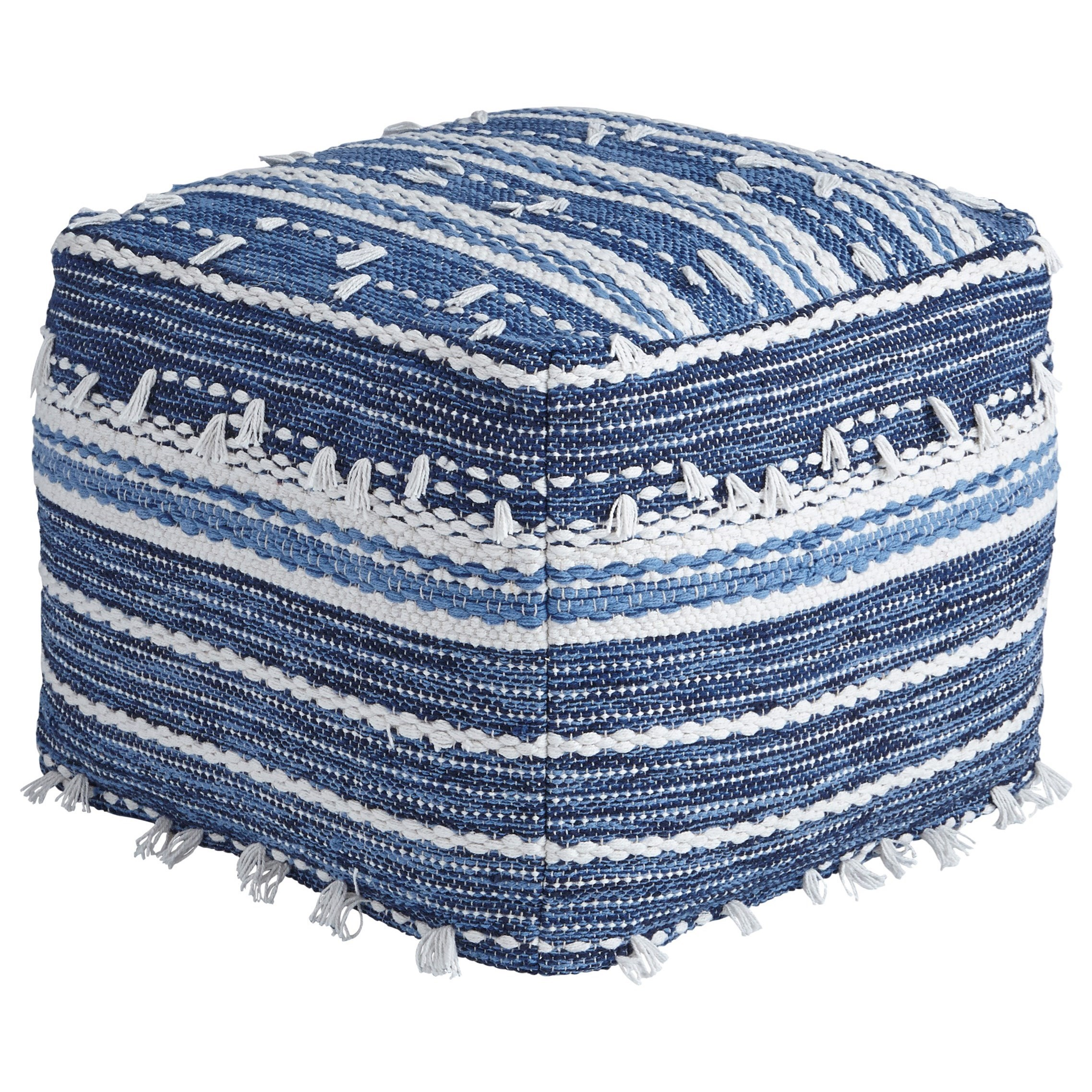 Ashley Signature Design PoufsAnthony   Blue/White Pouf ...