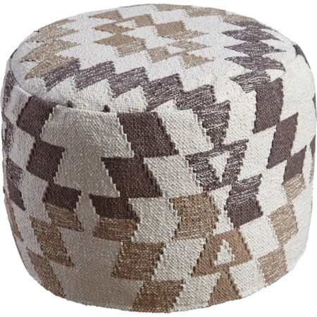 Abraham White/Brown Pouf