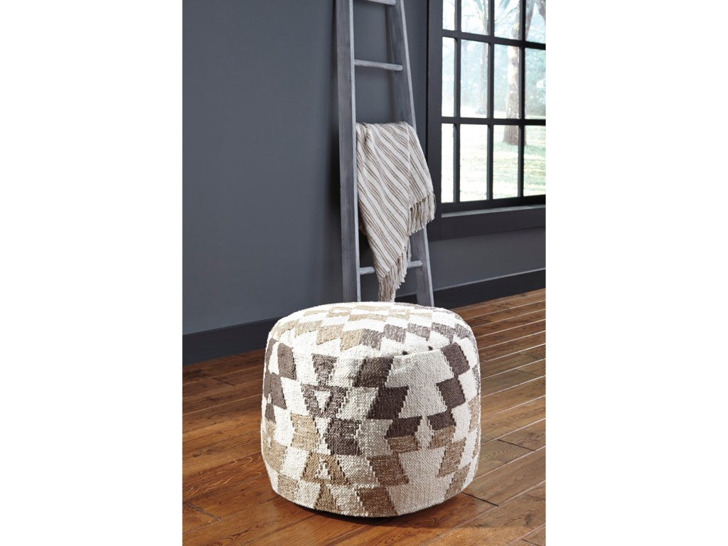 Signature Design by Ashley PoufsAbraham White/Brown Pouf