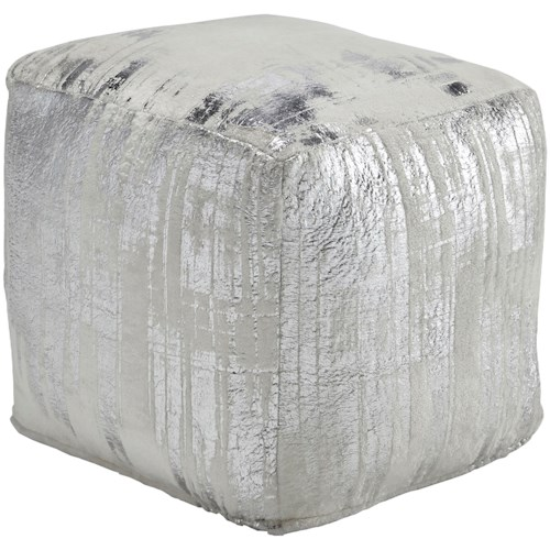 Signature Design by Ashley Poufs Alessandra Ivory/Silver Pouf