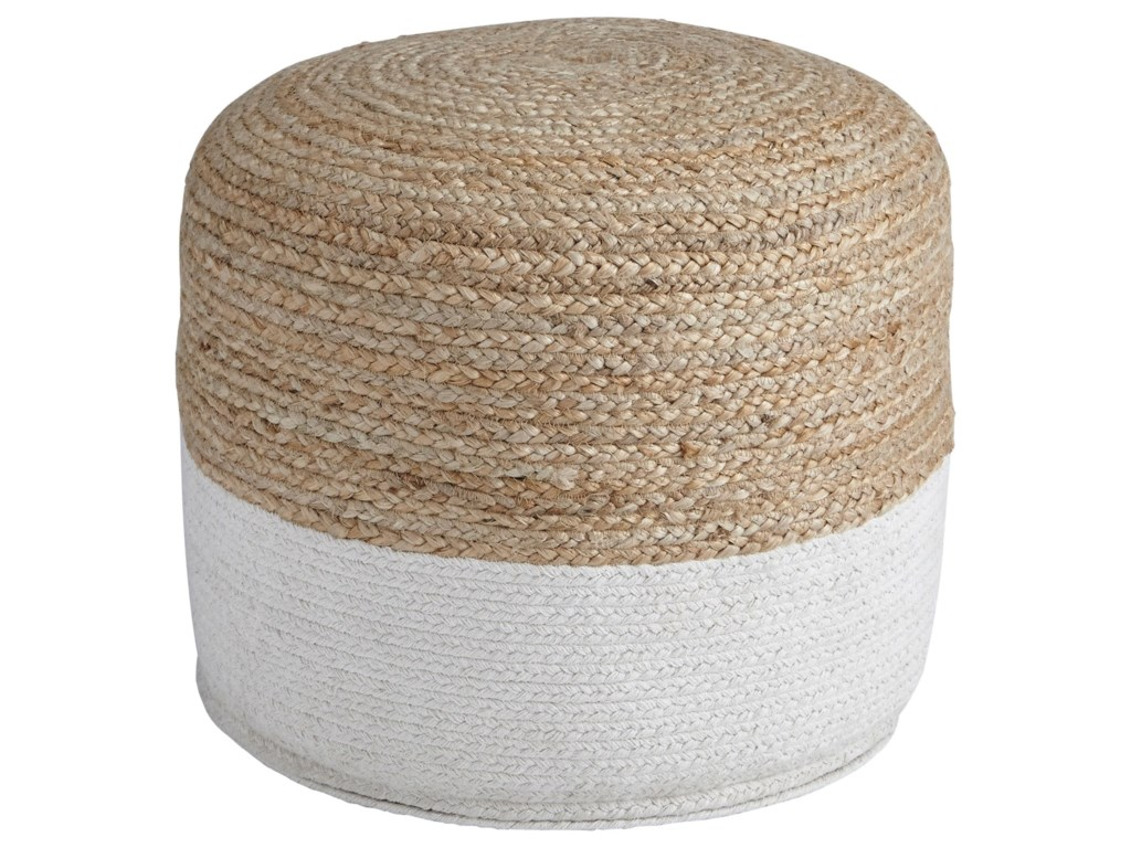 Signature Design by Ashley PoufsSweed Valley - Natural/White Pouf