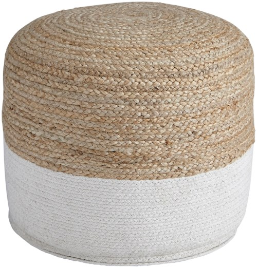 Signature Design by Ashley Poufs Sweed Valley - Natural/White Pouf