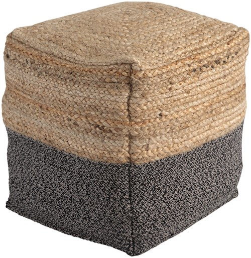 Signature Design by Ashley Poufs Sweed Valley - Natural/Black Pouf