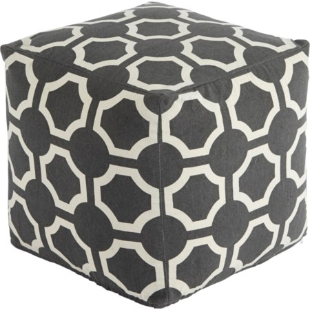 Geometric - Gray Pouf