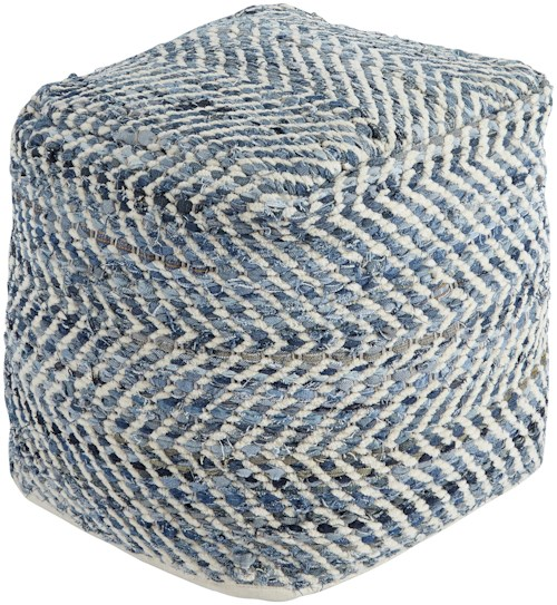 Signature Design by Ashley Poufs Chevron - Blue Pouf