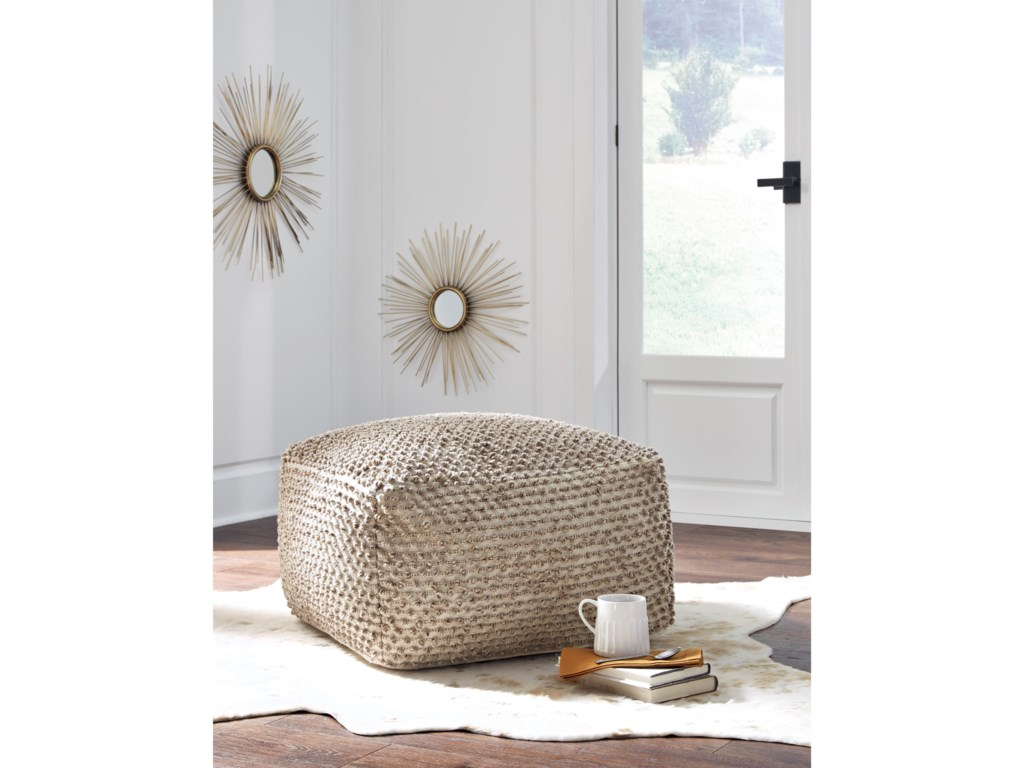 Signature Design by Ashley PoufsHedy Natural/Ivory Pouf