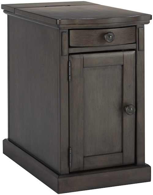 Signature Design by Ashley Laflorn Chair Side End Table with Power Outlets & Pull-Out Shelf