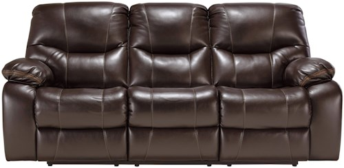 Signature Design by Ashley Pranas Faux Leather Reclining Power Sofa with Accent Trim