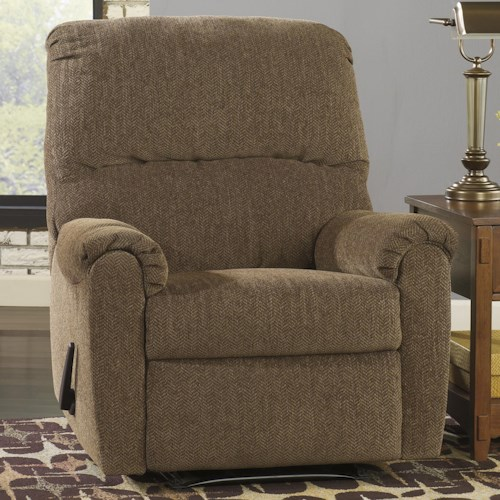 Signature Design by Ashley Pranit - Walnut Contemporary Zero Wall Recliner