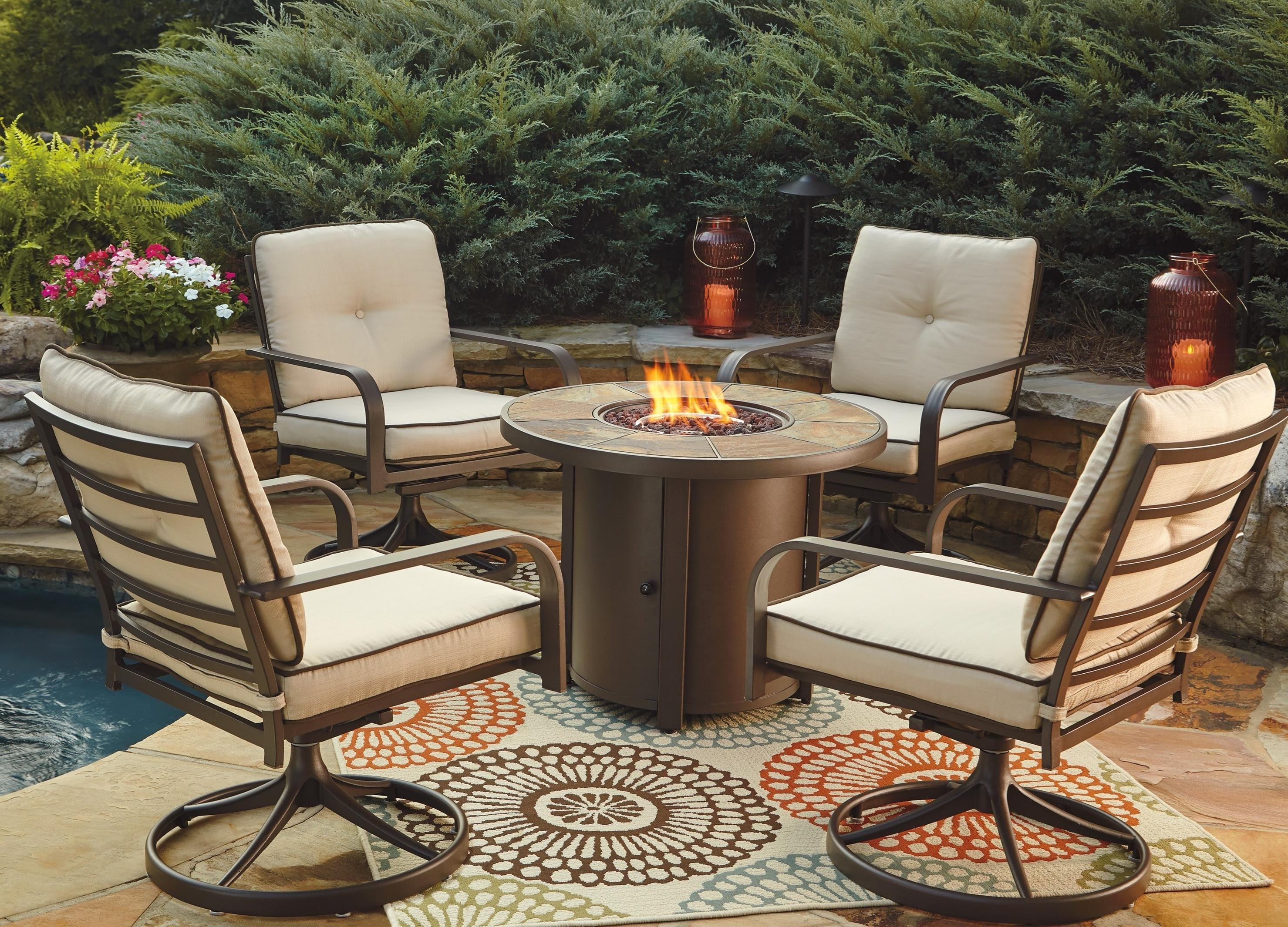 signature design by ashley predmore 5piece round fire pit table set w swivel lounge chairs john v schultz furniture outdoor setsoutdoor - Round Fire Pit