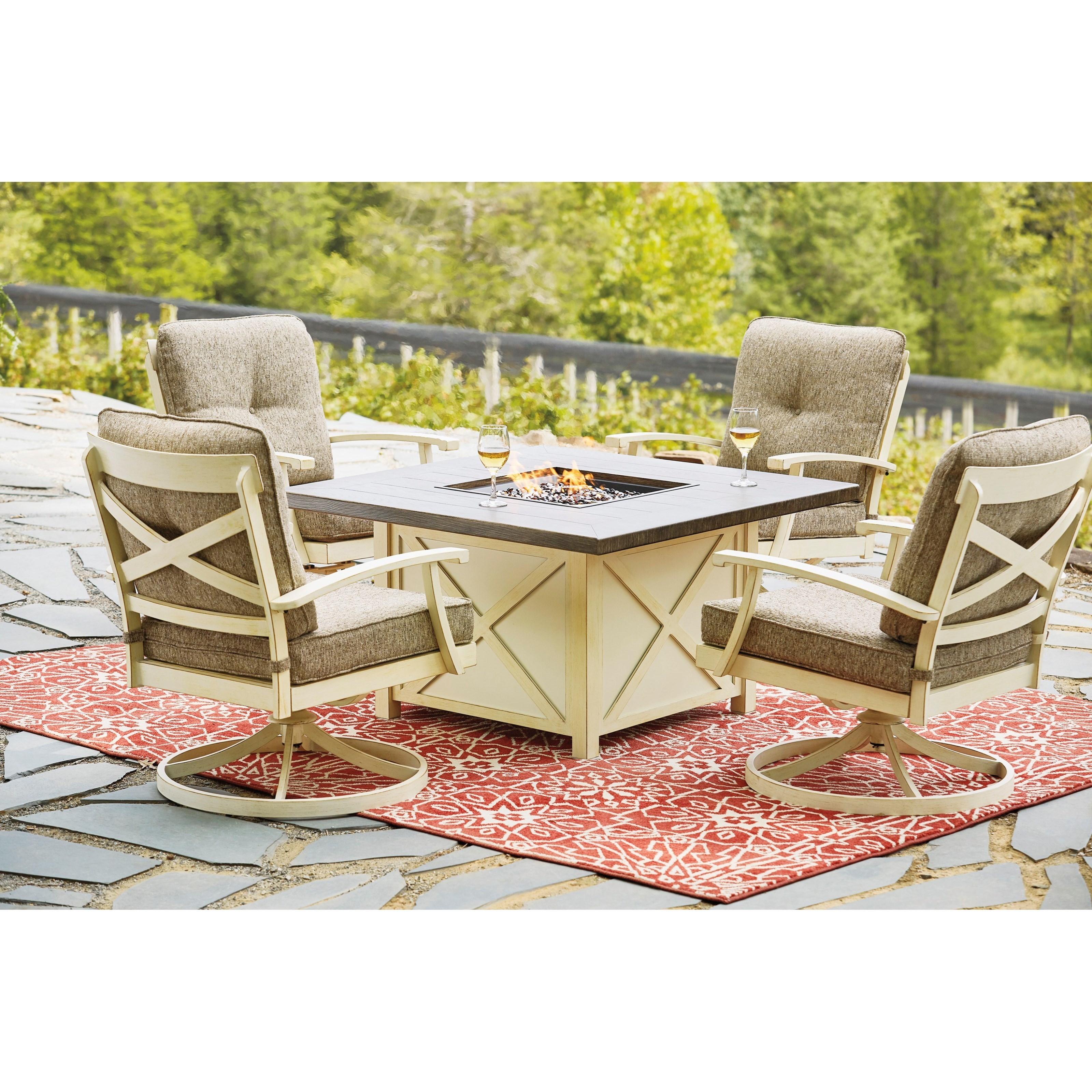 Image of: Signature Design By Ashley Preston Bay Outdoor Firepit Table Set Royal Furniture Outdoor Conversation Sets Outdoor Chat Sets