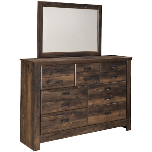Signature Design by Ashley Quinden Rustic Dresser with 7 Drawers & Mirror