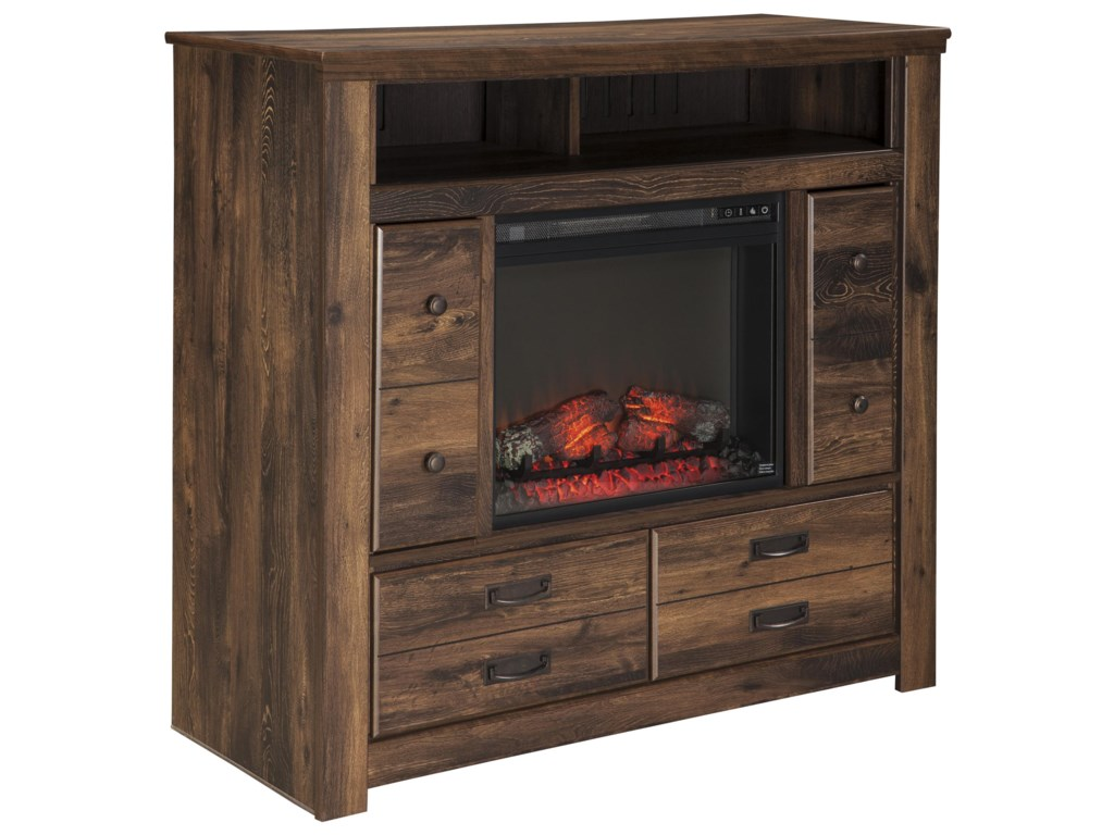 Signature Design by Ashley QuindenMedia Chest with Fireplace Insert