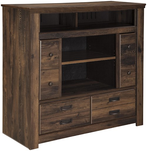Signature Design by Ashley Quinden Rustic Media Chest with Doors