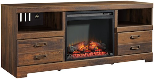 Signature Design by Ashley Quinden Rustic Casual Large TV Stand with Fireplace Insert