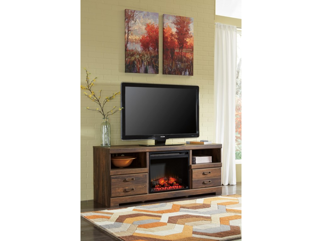 Ashley (Signature Design) QuindenLarge TV Stand with Fireplace Insert