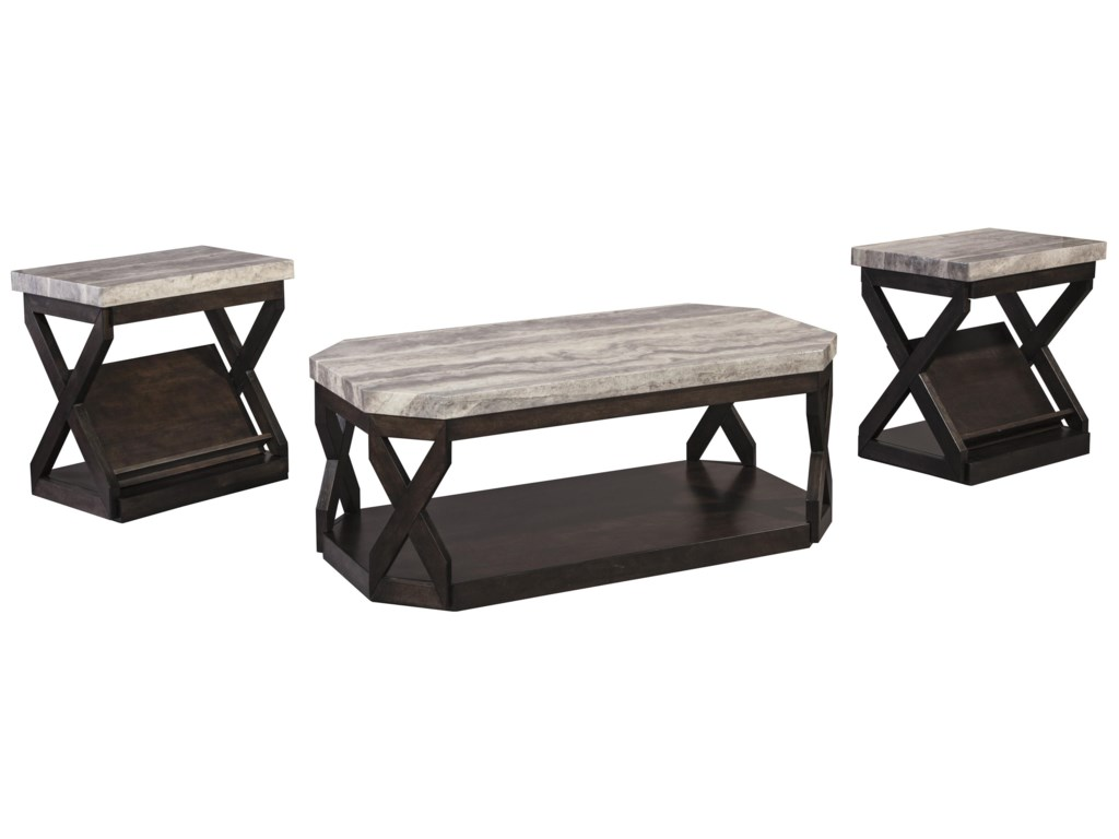 Ashley Signature Design Radilyn T Piece Occasional Table Set - Ashley signature coffee table set