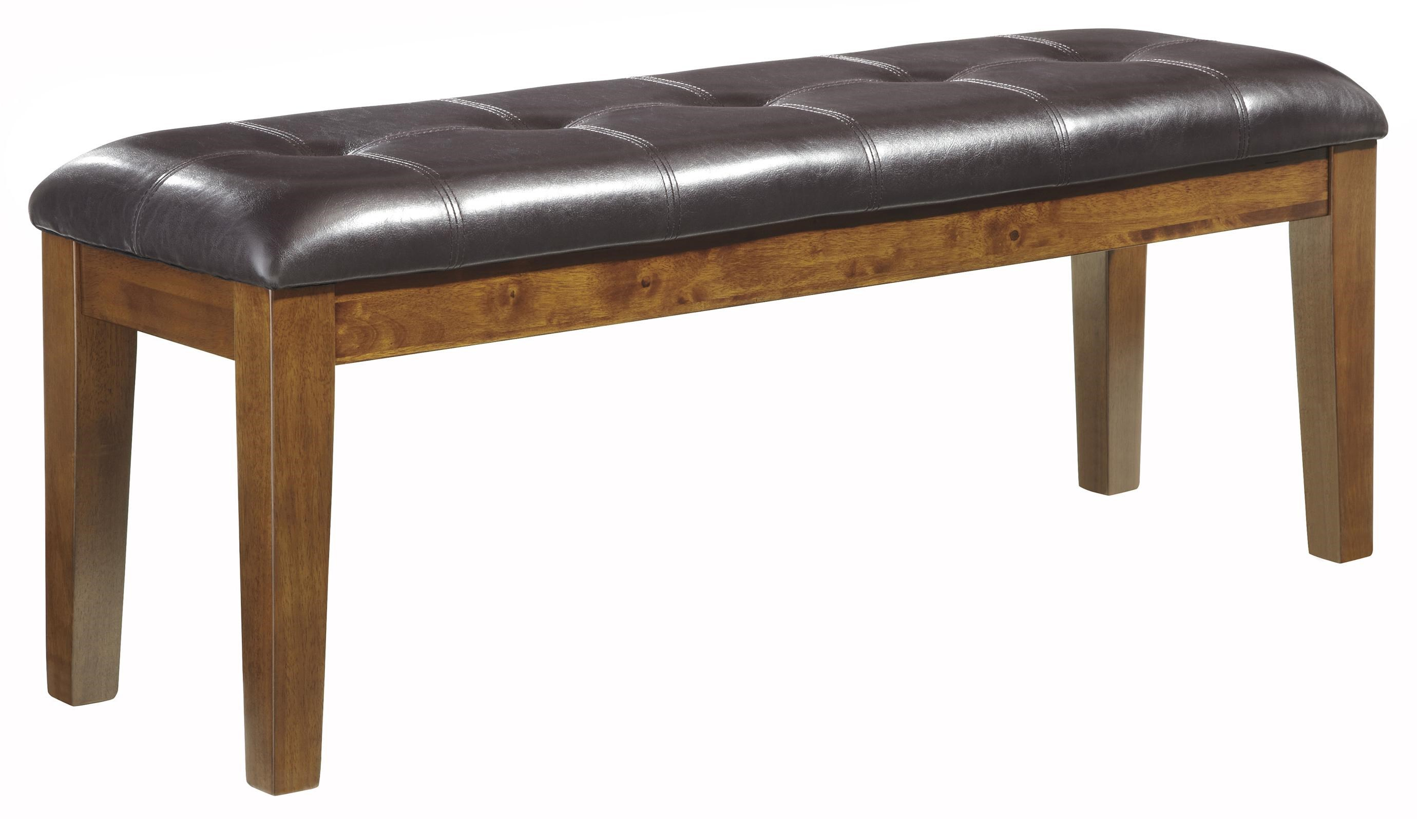 Casual Faux Leather Large Upholstered Dining Bench With Button Tufting