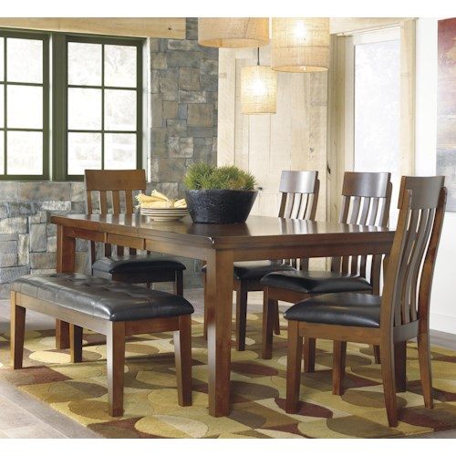 Signature Design By Ashley Ralene Casual 6 Piece Dining Set With Butterfly Extension Leaf Bench
