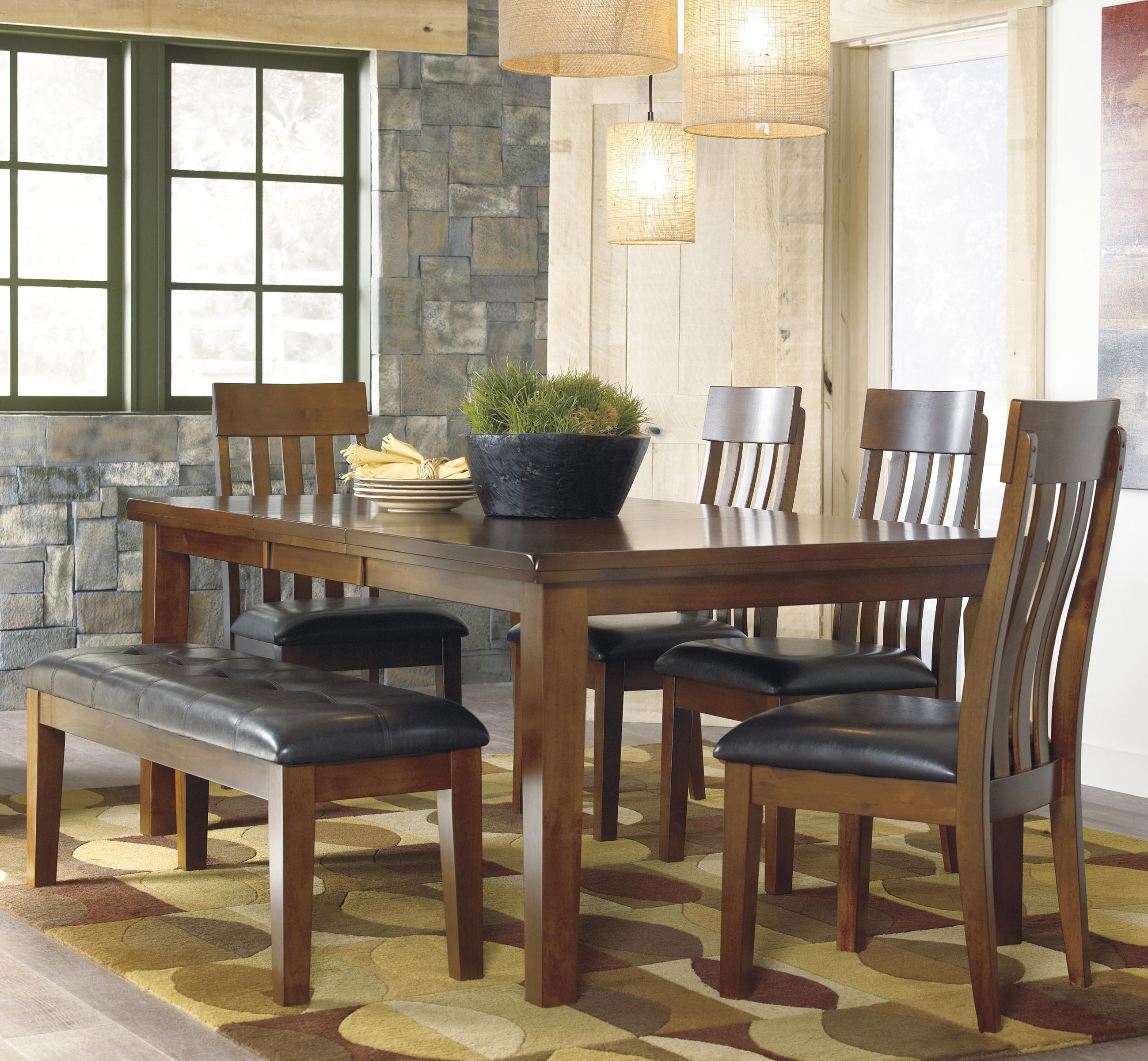 Signature Design By Ashley Ralene Casual 6 Piece Dining Set With Butterfly  Extension Leaf U0026 Bench