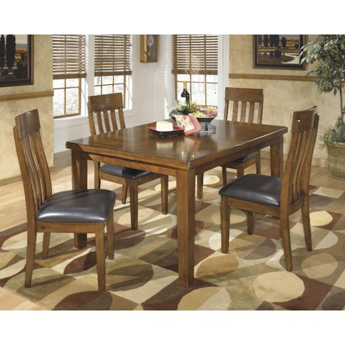 Signature Design by Ashley Ralene Casual 5 Piece Dining Set with Butterfly Extension Leaf
