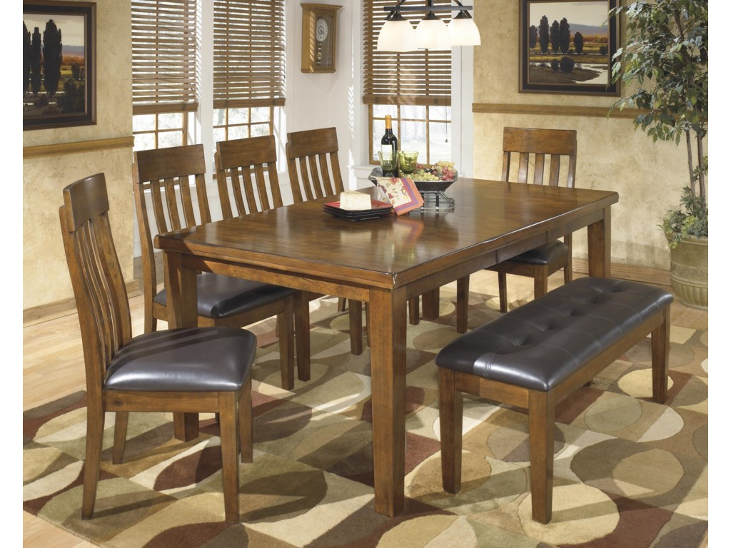 Ashley Signature Design Ralene Casual 7 Piece Dining Set With Butterfly Extension Leaf Bench