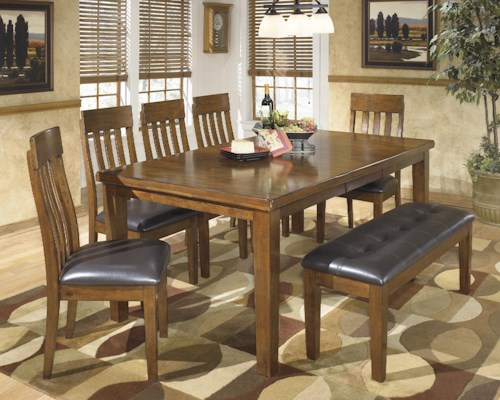 Signature Design by Ashley Ralene Casual 7 Piece Dining Set with Butterfly Extension Leaf & Bench