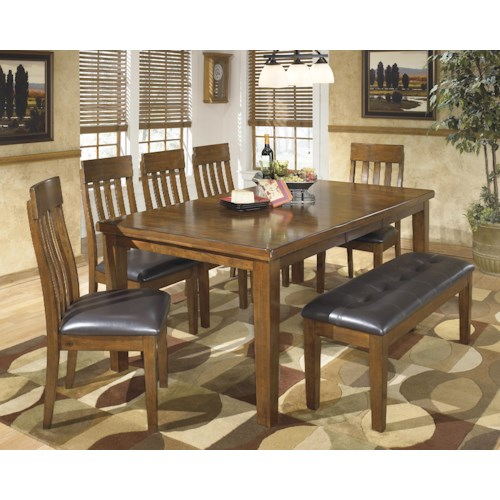 Signature Design by Ashley Ralene Casual 7-Piece Dining Set with Butterfly Extension Leaf & Bench