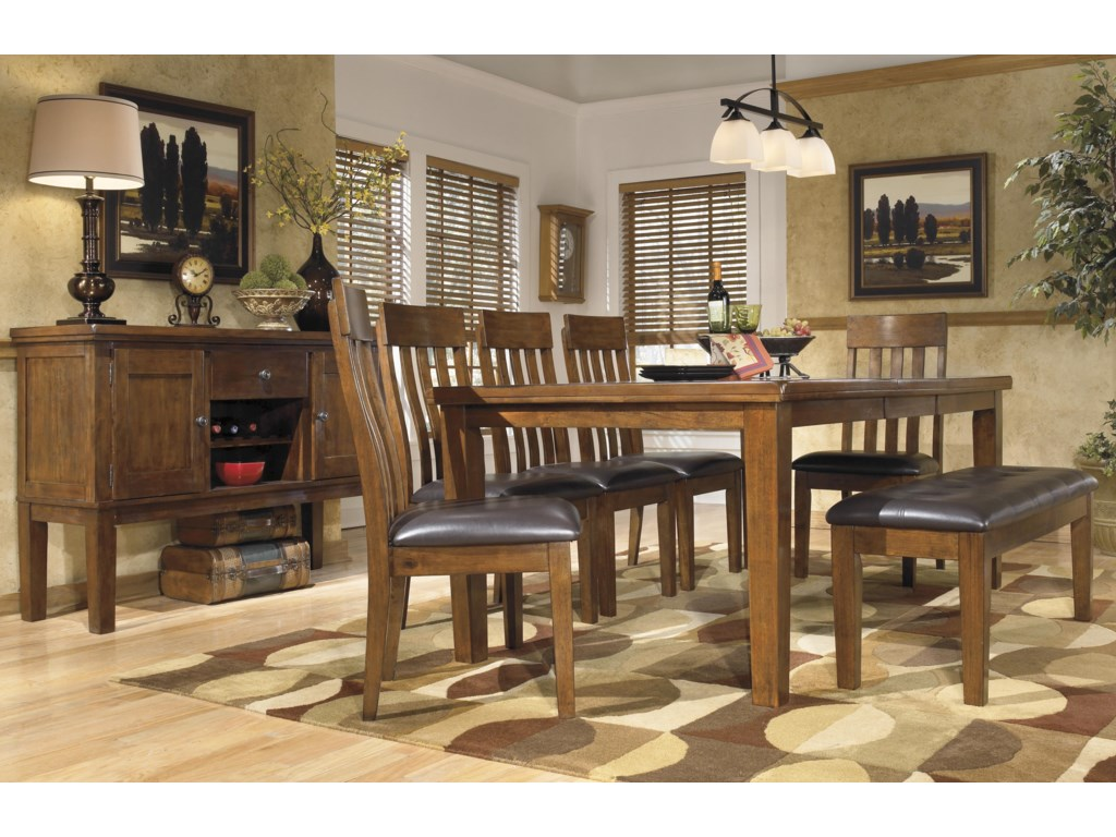 Ralene Casual 7 Piece Dining Set With Butterfly Extension Leaf Bench By Ashley Signature Design