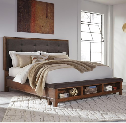 Signature Design by Ashley Ralene California King Upholstered Bed with Bench Storage Footboard