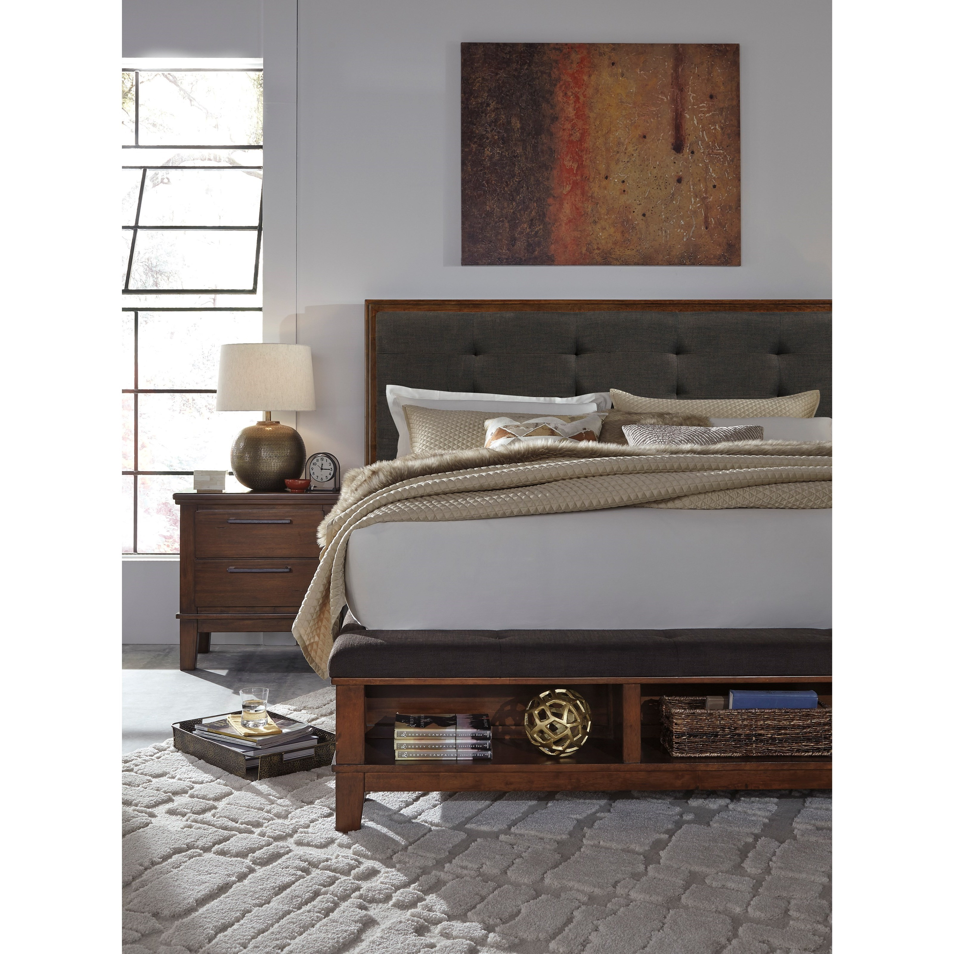 Signature Design By Ashley Ralene Queen Upholstered Bed With Bench Storage Footboard Royal Furniture Upholstered Beds