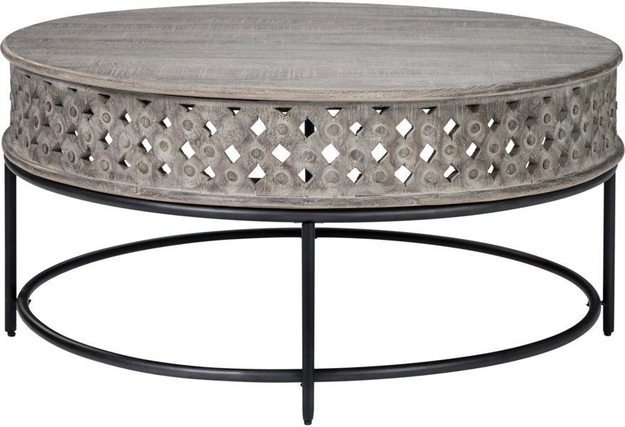 Signature Design By Ashley Rastella Carved Mango Round Cocktail Table In Gray Finish With Metal Base Value City Furniture Cocktail Coffee Tables