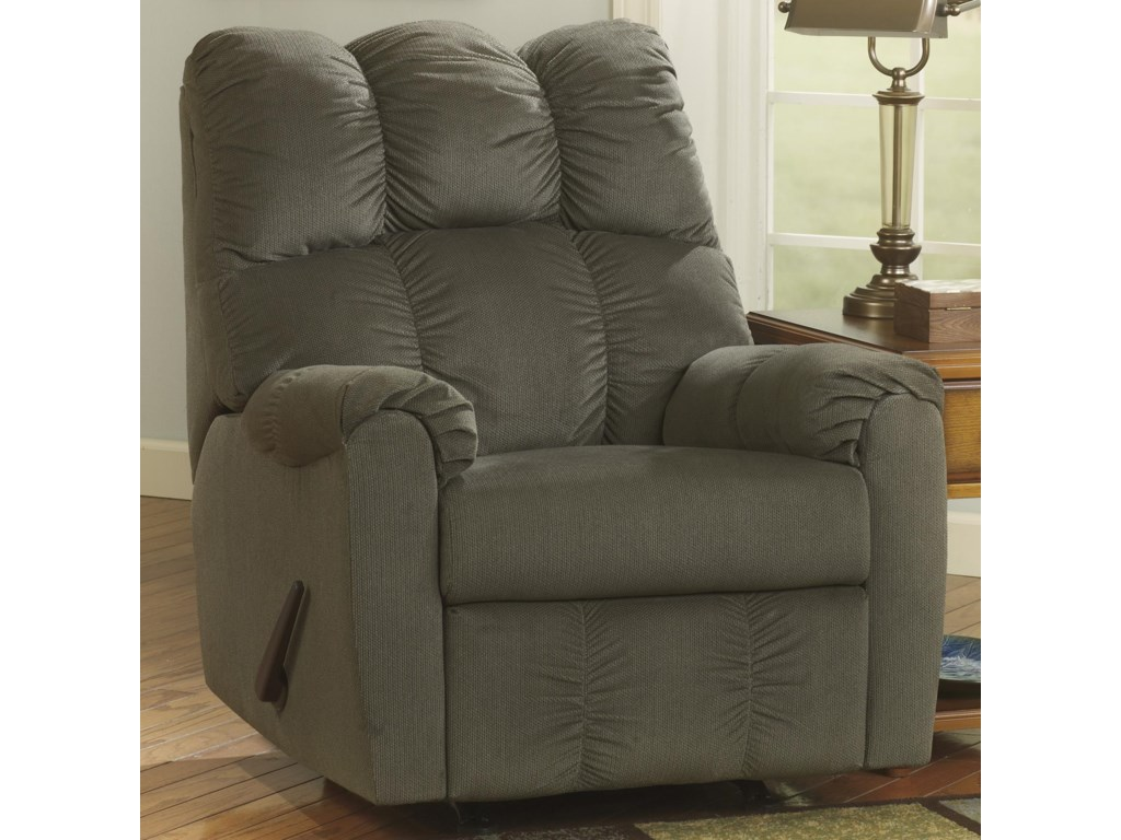 Signature Design By Ashley Raulo Moss Rocker Recliner W Padded