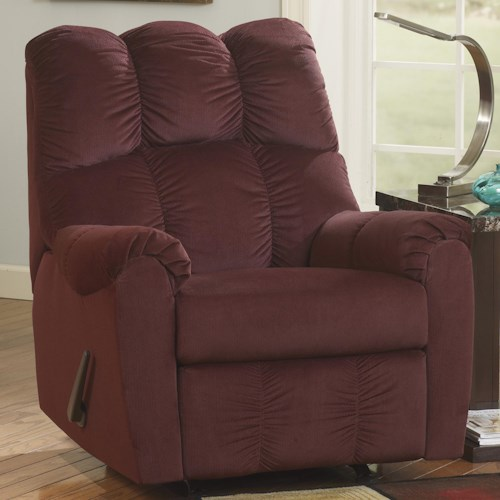 Signature Design by Ashley Raulo - Burgundy Rocker Recliner w/ Padded Arms