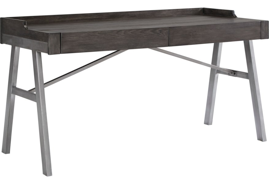 Raventown Contemporary Metal Wood Home Office Desk In Grayish Brown Finish By Ashley Signature Design At Dunk Bright Furniture
