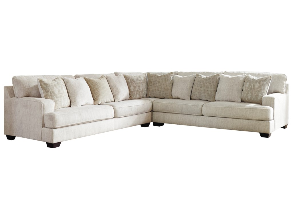 Rawcliffe 3-Piece Sectional with Scatterback Accent Pillows by Signature  Design by Ashley at Royal Furniture