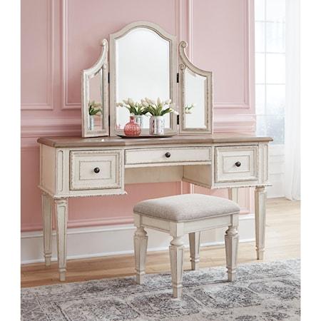 Vanity/Mirror/Stool Set