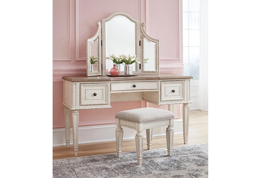 Ashley Signature Design Realyn B743 22 Vanity Mirror Stool Set