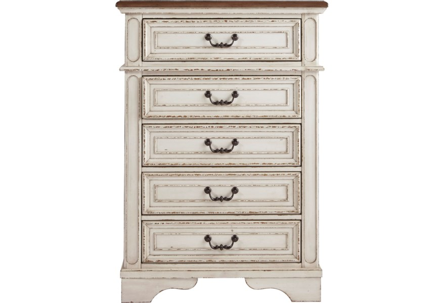 Signature Design By Ashley Realyn 10263974 Two Tone 5 Drawer Chest Pilgrim Furniture City Drawer Chests