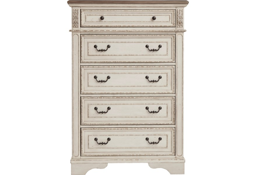 more photos f57f4 02376 Realyn Two-Tone 5-Drawer Chest by Benchcraft at Virginia Furniture Market