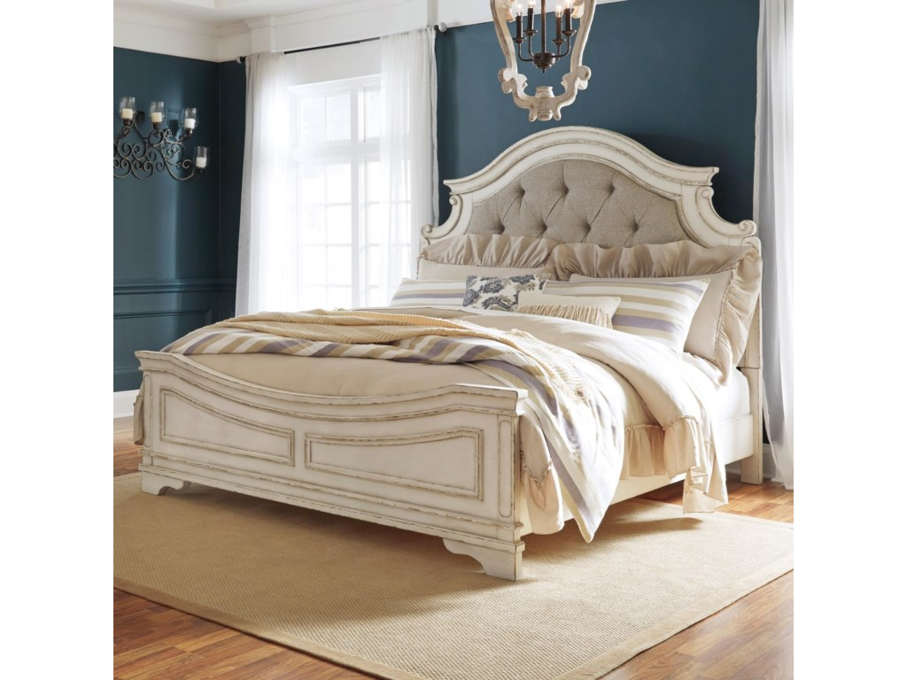 Signature Design RealynKing Upholstered Panel Bed