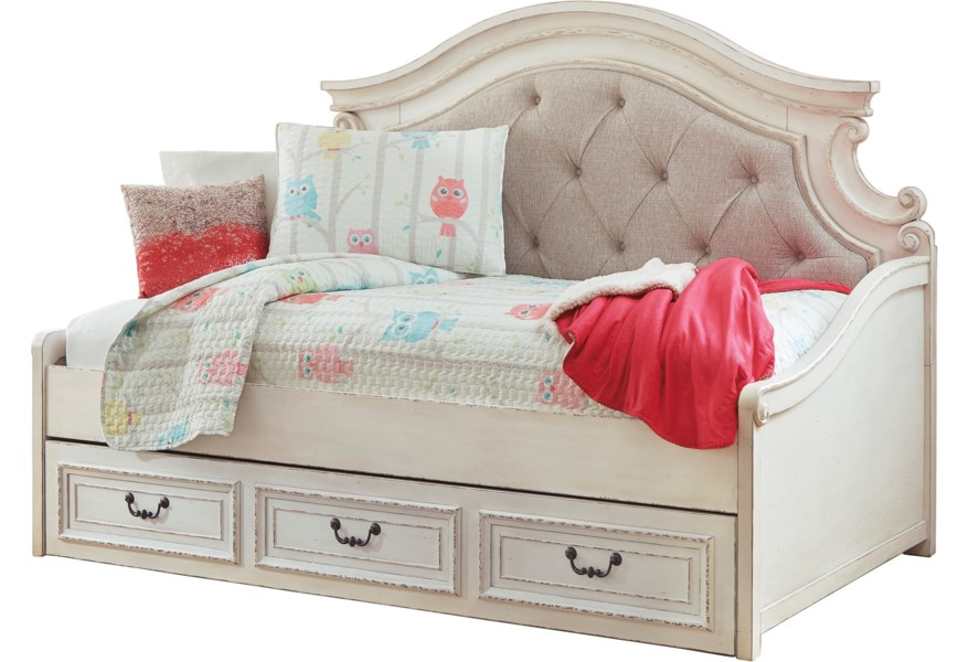 Ashley Signature Design Realyn Twin Upholstered Day Bed With Under Bed Storage Dunk Bright Furniture Daybeds