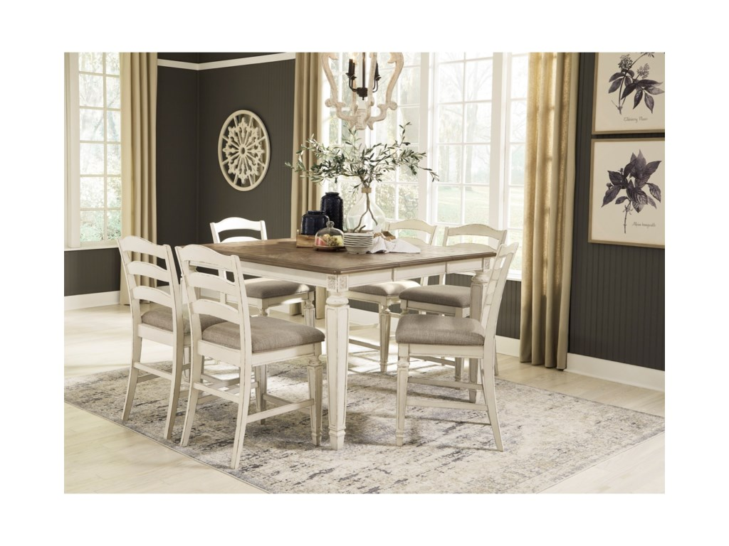 Signature Design By Ashley Realyn 7 Piece Counter Extension Table Set Conlin S Furniture Pub Table And Stool Sets