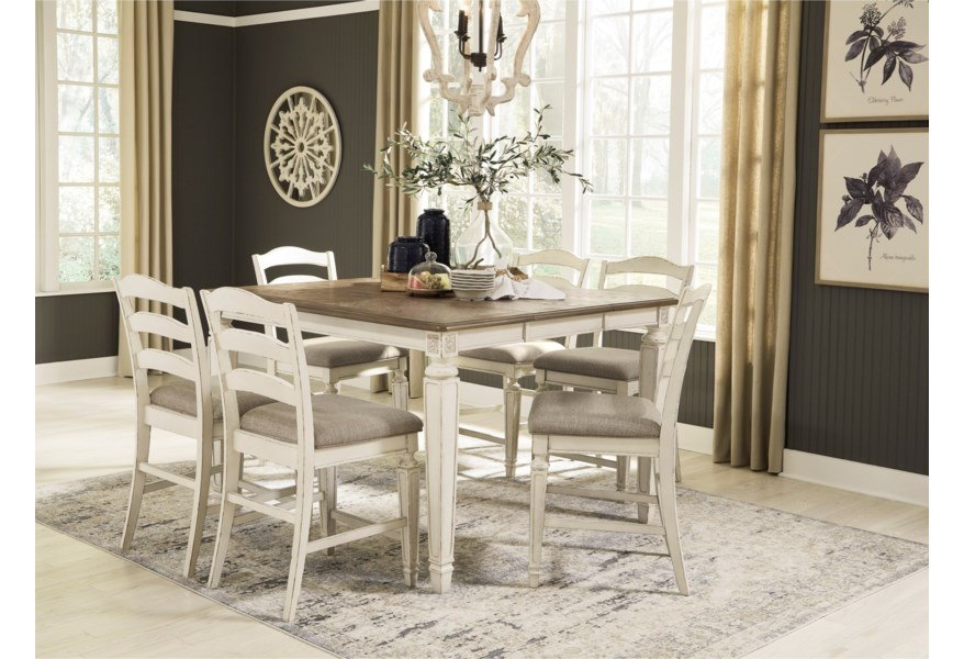 Signature Design By Ashley Realyn D743 32 6x124 7 Piece Counter Extension Table Set Pilgrim Furniture City Pub Table And Stool Sets