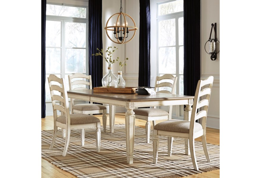 Signature Design By Ashley Realyn D743 45 4x01 5 Piece Rectangular Table And Chair Set Furniture And Appliancemart Dining 5 Piece Sets