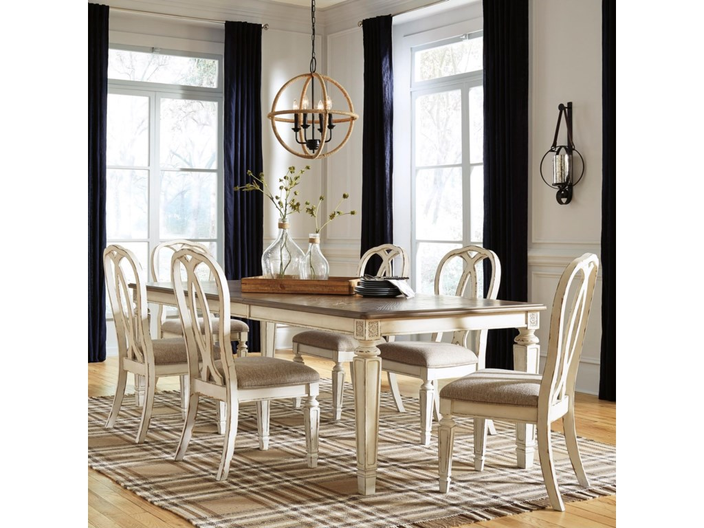 Signature Design by Ashley Realyn7 Piece Rectangular Table and Chair Set