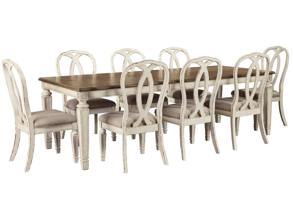 Signature Design by Ashley Realyn9 Piece Rectangular Table and Chair Set