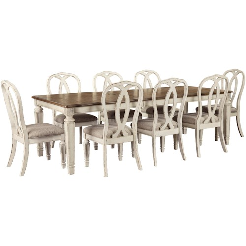 Signature Design by Ashley Realyn 9 Piece Rectangular Table and Chair Set